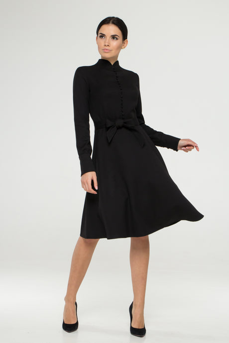 Black mandarin collar dress with covered buttons