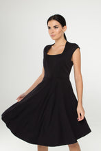 Load image into Gallery viewer, Black Fit and flare midi dress