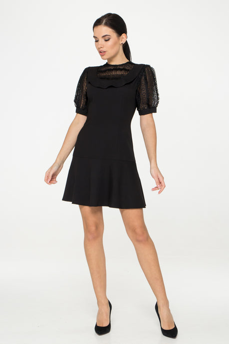 Black Cocktail Mini dress with lace puffy sleeves