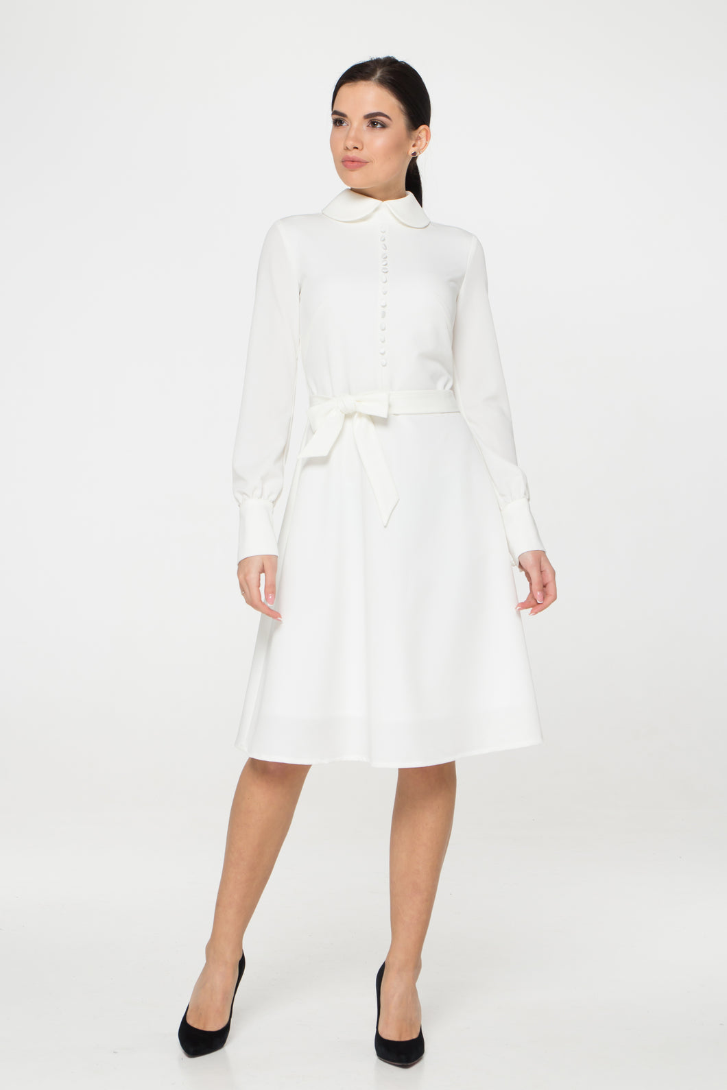 Collared Button front white dress