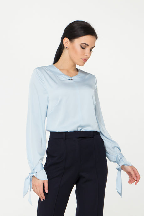 Blouse with Tie Sleeves