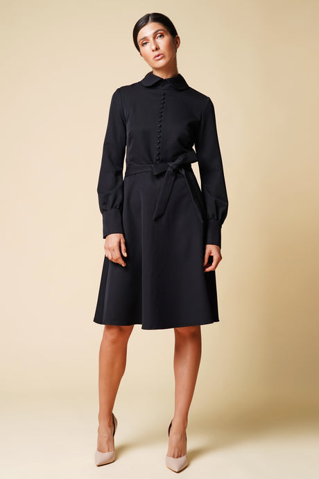 Collared button front black dress