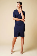 Load image into Gallery viewer, Belted navy midi dress