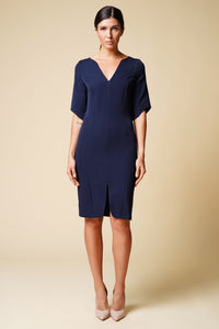 Belted navy midi dress