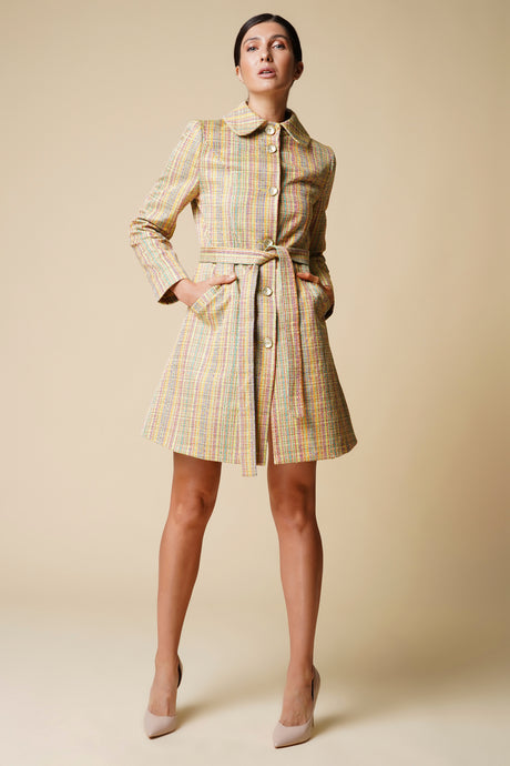 Striped yellow high rounded collar trench coat women