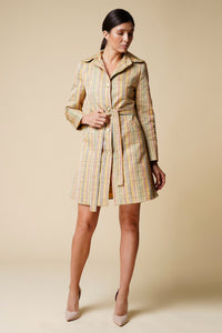 Striped yellow high rounded collar trench coat