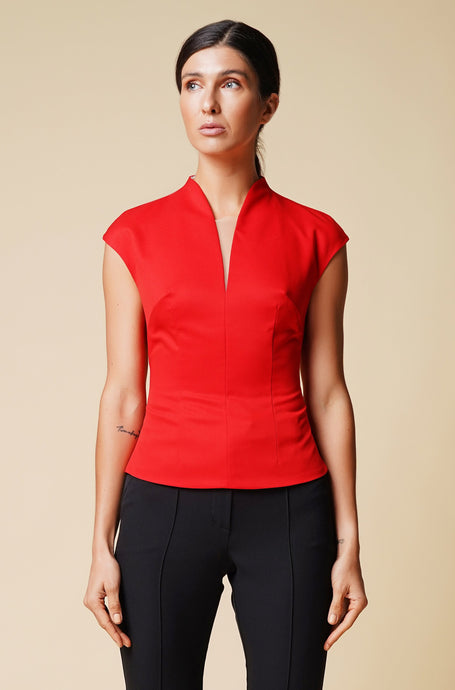 High neck cap sleeve red blouse