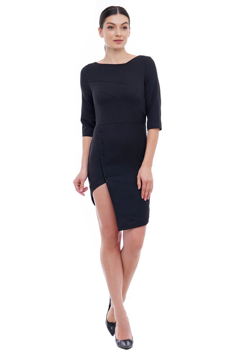 Asymmetrical black mini dress