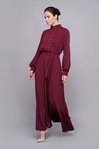 High neck puffy sleeves burgundy maxi dress
