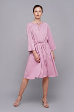 Load image into Gallery viewer, Pink midi drawstring waist dress