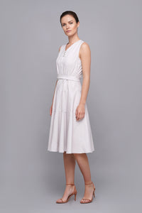 White summer cotton midi dress women