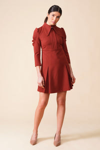 Brown dog ear collar puffy sleeve dress