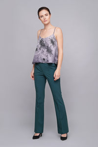 Green high waist flared leg trousers women