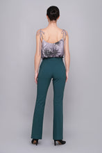 High waist flared leg trousers