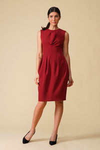 Burgundy tulip midi dress with draped bodice