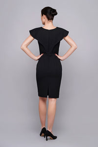 Black angel sleeve midi pencil dress