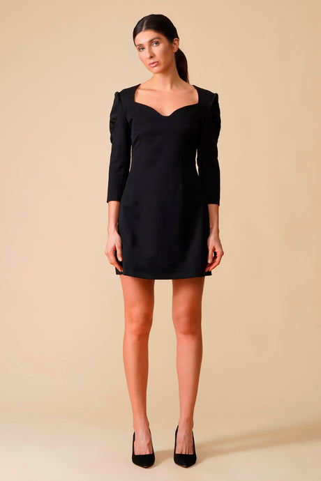 Black sweetheart neckline puffy sleeve dress