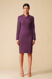 Purple collared long sleeve pencil dress