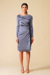 Gray cowl neck long sleeve satin midi dress