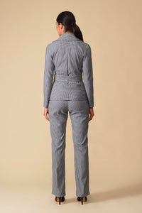 Gray jersey houndstooth pant suit