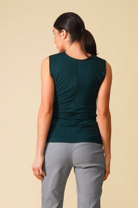 Dark green asymmetrical jersey fitted top