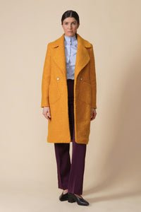 Mustard wool boucle double breasted cloverleaf collar coat