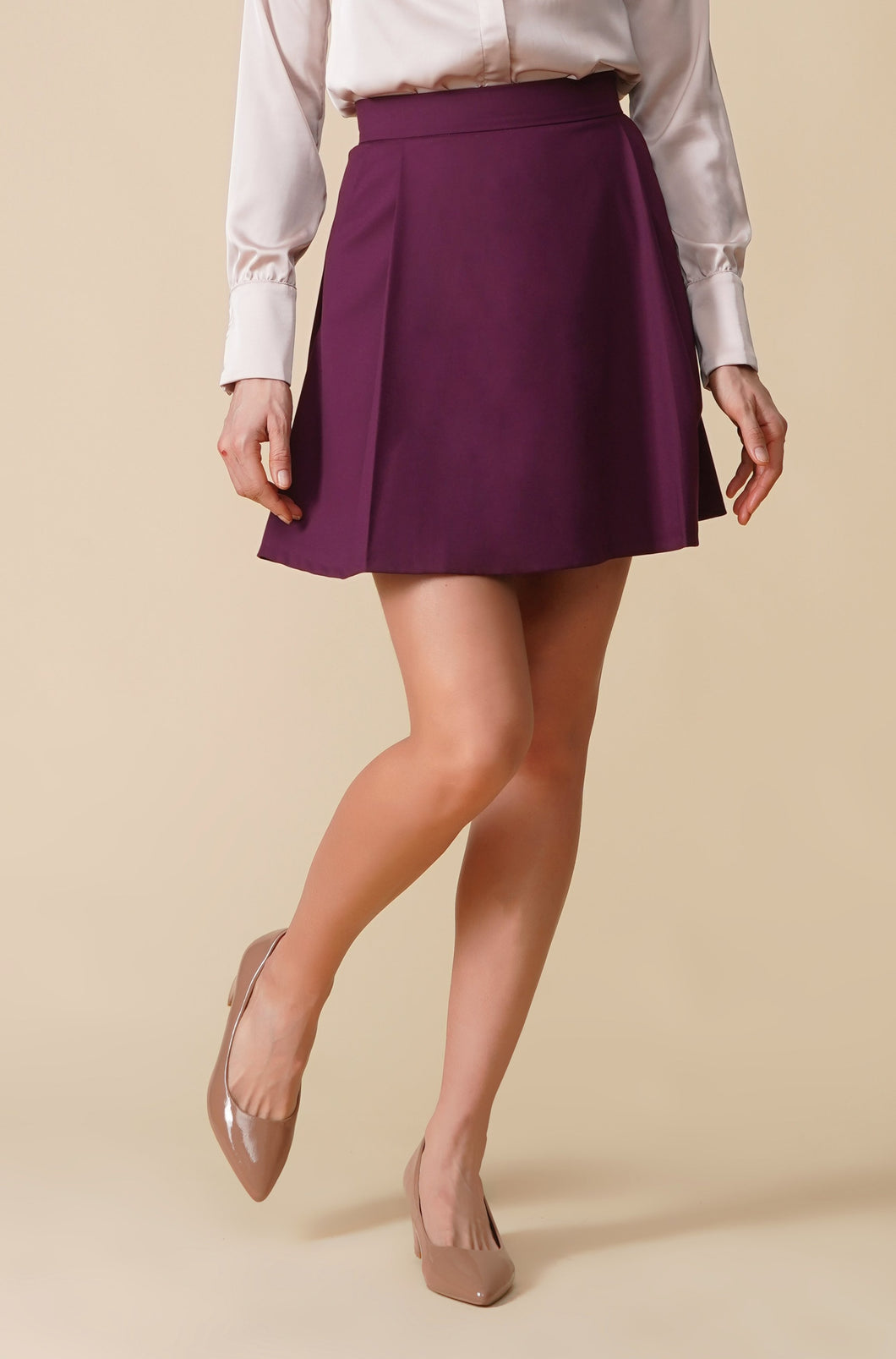 Purple a line pleated mini skirt