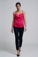 Load image into Gallery viewer, Fuchsia pink draped satin cami top