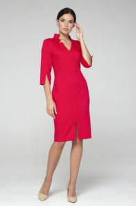 Red high neck midi pencil dress