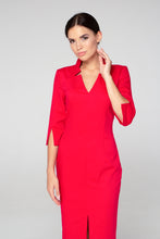 Red high neck midi pencil dress women