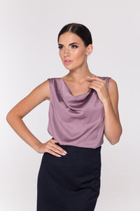 Satin cowl neck top for women