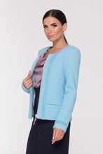 Blue Boiled Wool Zip-up Jacket