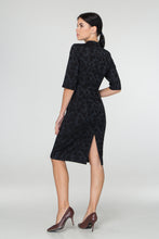 Load image into Gallery viewer, Black jacquard midi dress