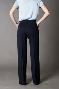 Dark blue High-Rise Wide-leg Trousers