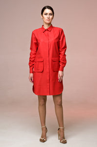 Oversized cotton shirtdress with large pockets