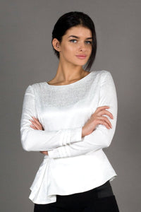 White peplum blouse for women