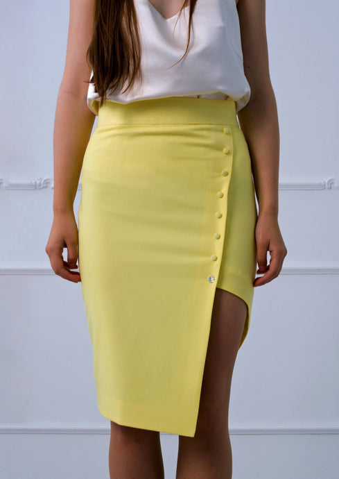 Asymmetrical high low pencil skirt