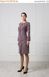 Red winter boucle dress