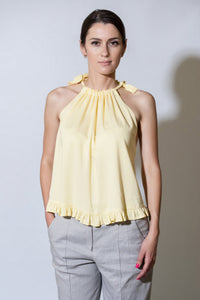 Yellow halter top with ties