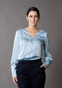 Blue long sleeve button up blouse