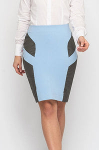 Blue and grey two color pencil skirt