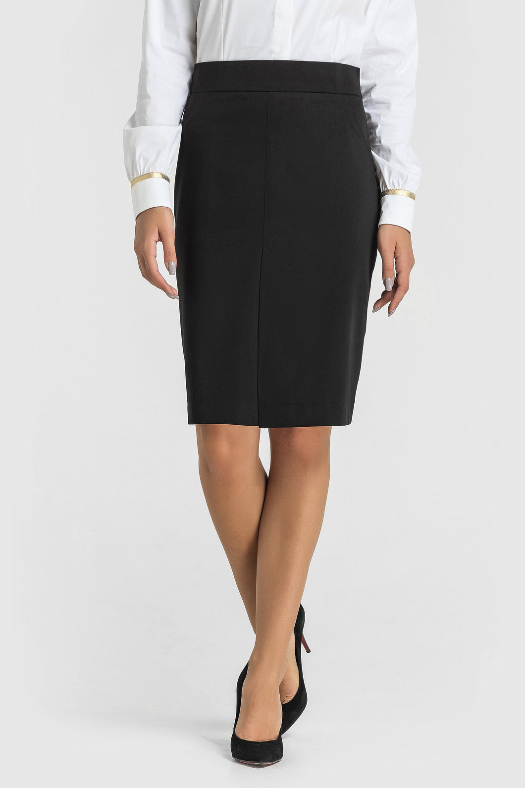 Front Slit Black Pencil Skirt women