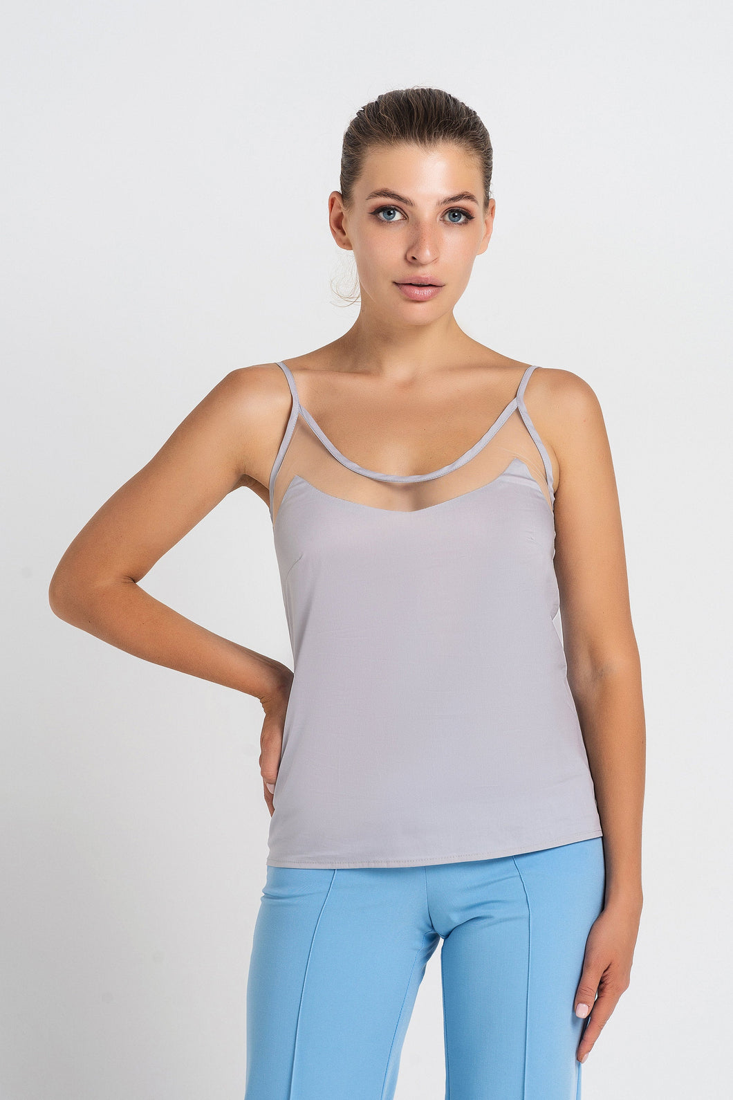 Gray mesh insert cutout slip top