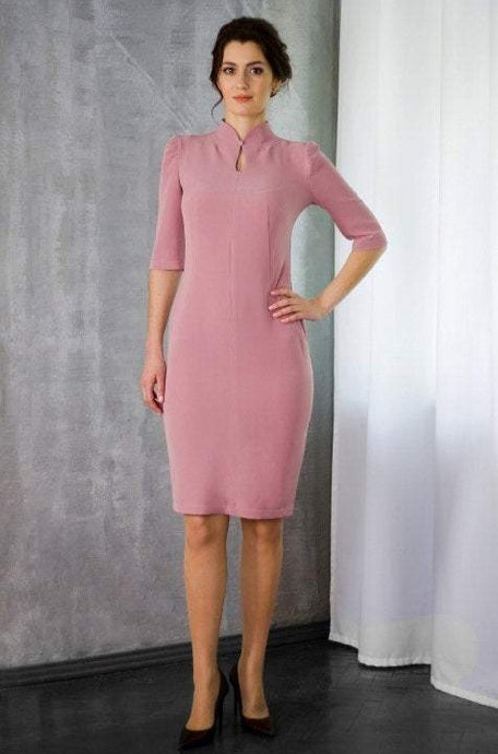 Pale pink high neck modern cheongsam dress