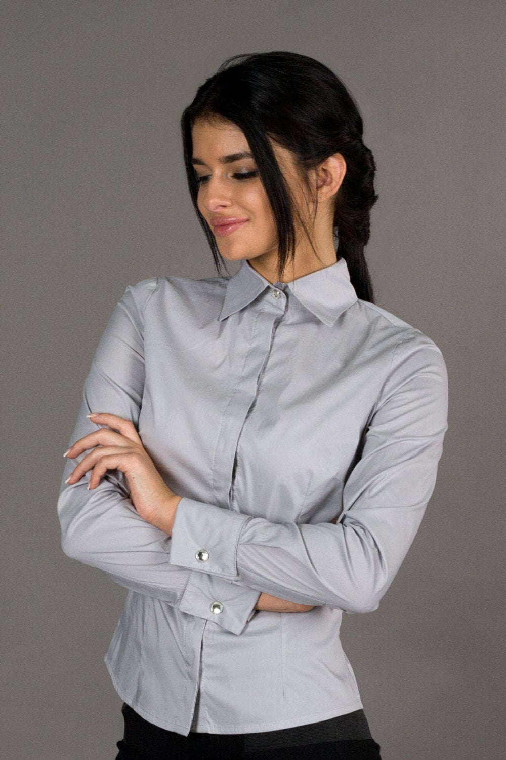 Gray french cuff button down shirt