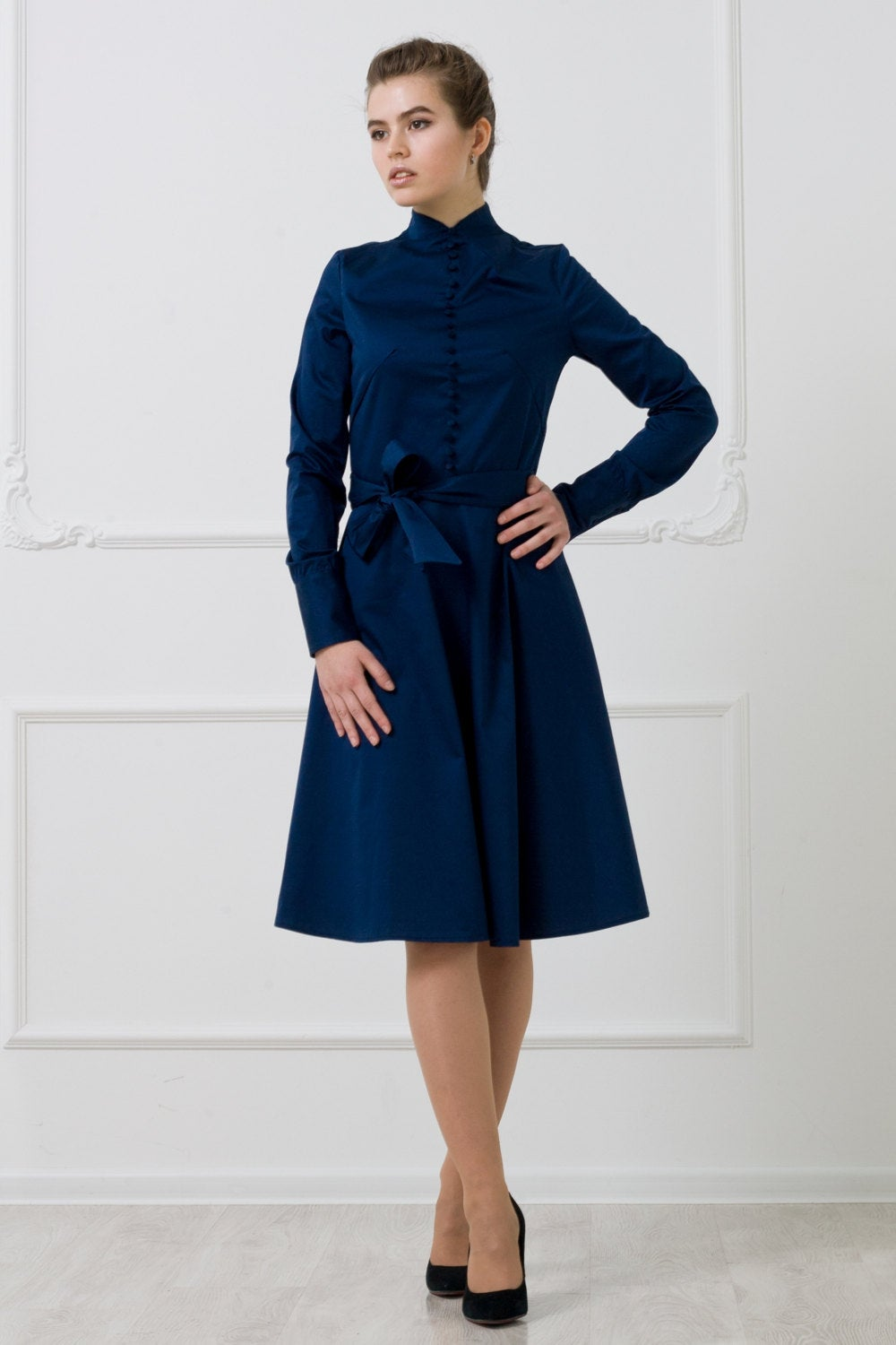 Navy high neck button front fit and flare dress