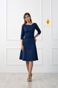Blue asymmetrical fit and flare cotton midi dress