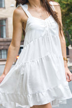White loose ruffled sundress