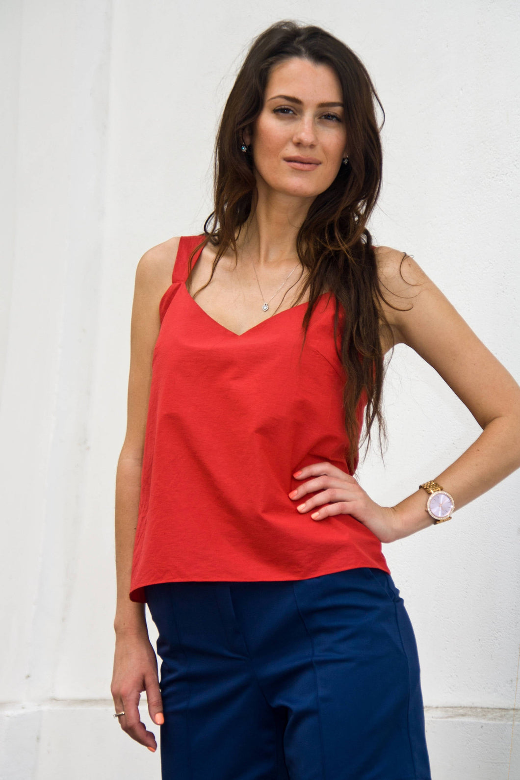 Red cotton tank top women