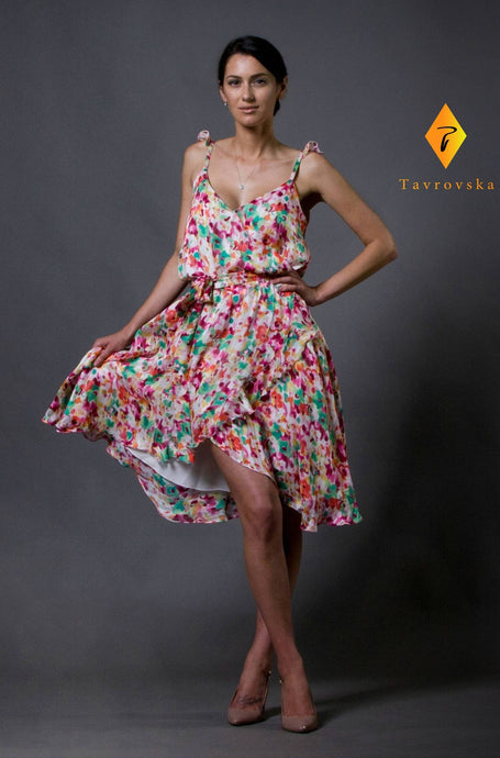 Floral chiffon ruffled sundress
